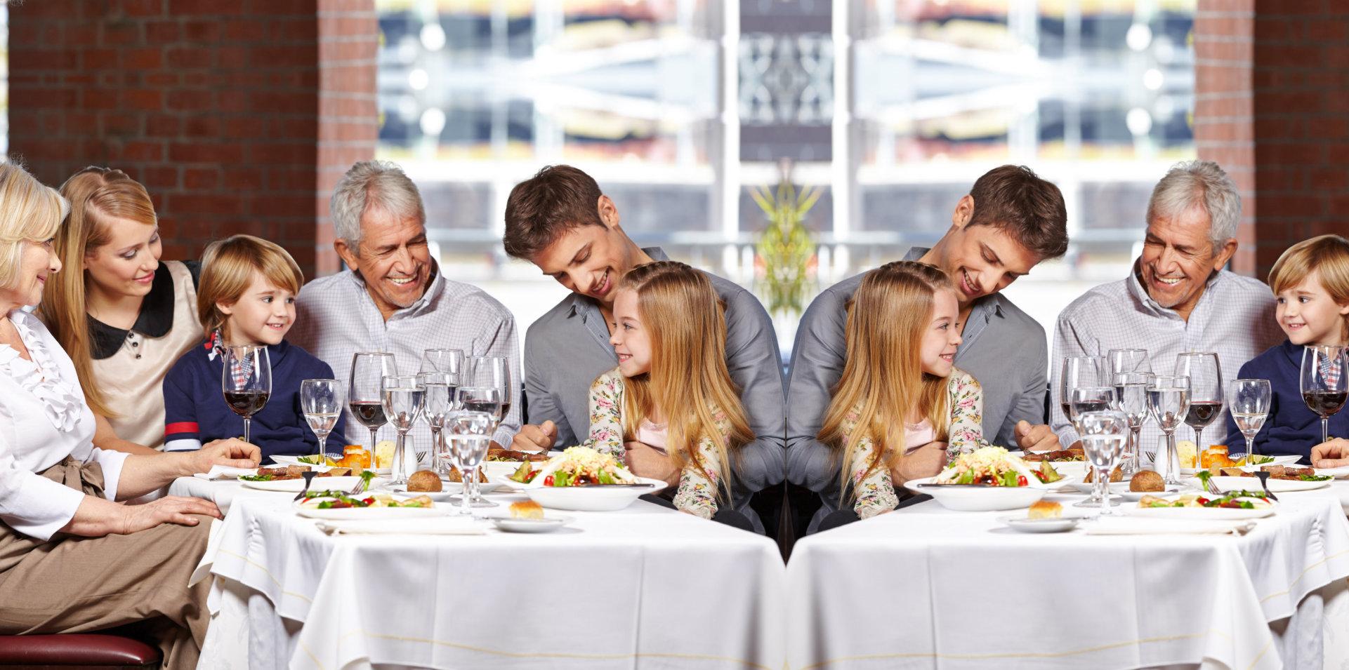 happy family having a meal